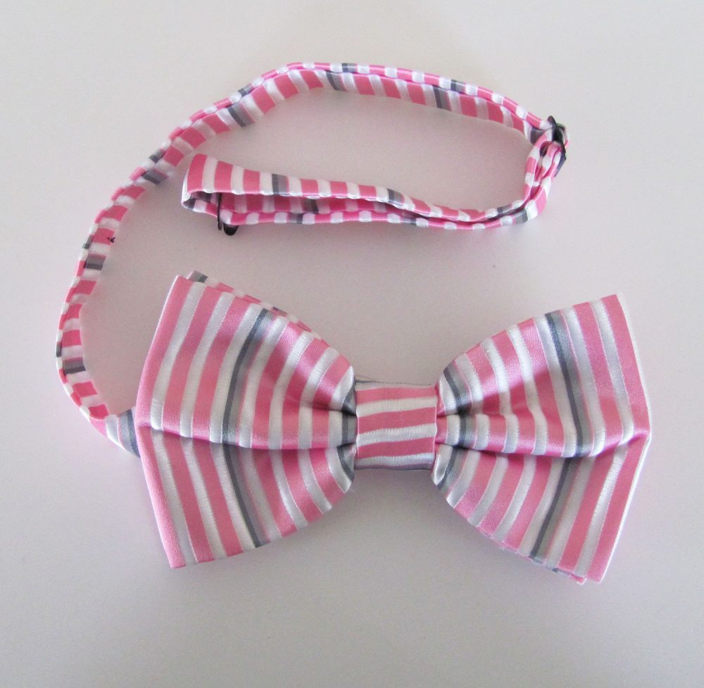 Mens Bow Tie White With Pink & Silver Fine Stripes Banded Pre Tied