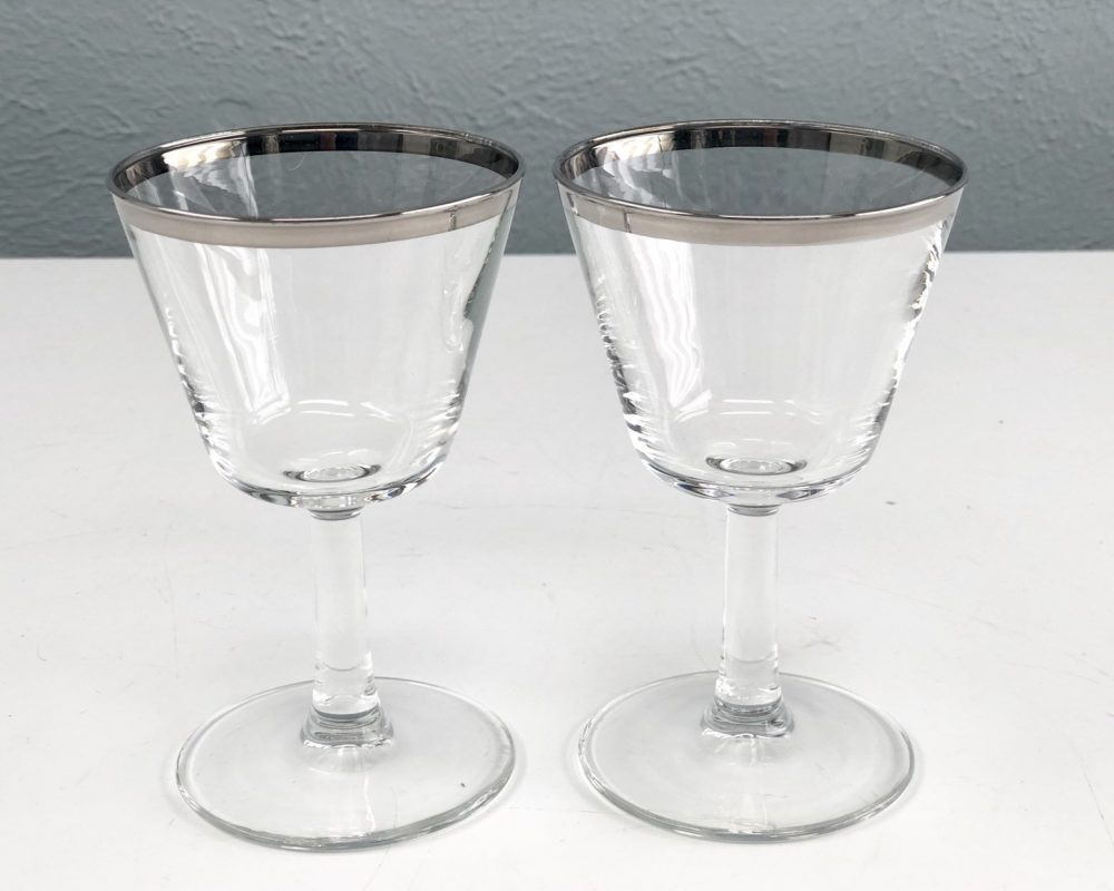 Delicate Vintage Cocktail Glasses Made in France With Silver Band, Set Of 2, Mad Men Style, 1960S Barware, Wine Glasses, Champagne Glass