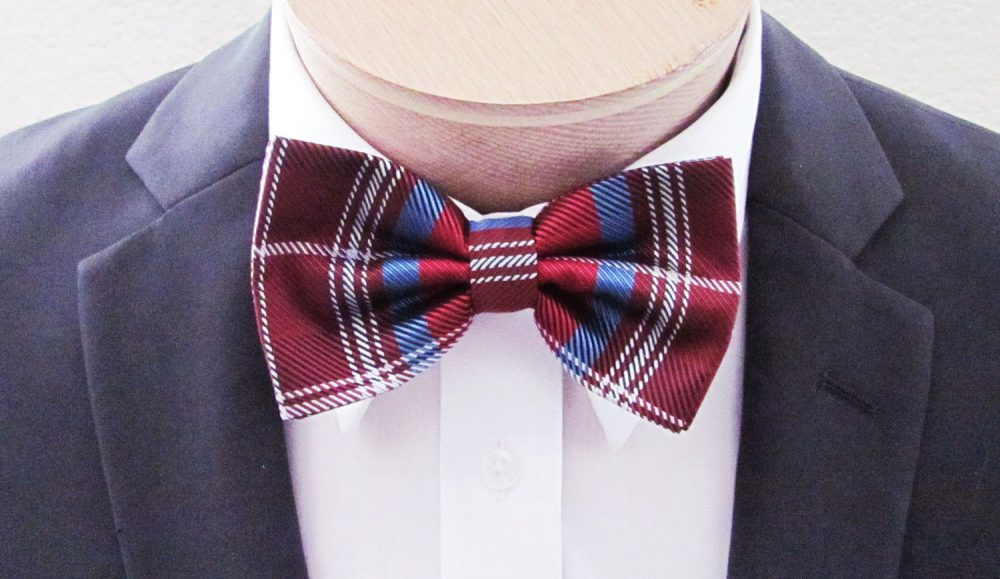Mens Bow Tie Red With Blue & Silver Plaid | With Free Pocket Square Banded Pre Tied