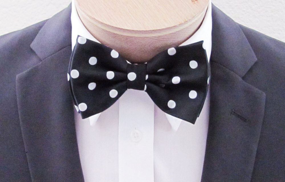 Mens Bow Tie Black With Silver Pokadots Banded | With Free Pocket Square Pre Tied