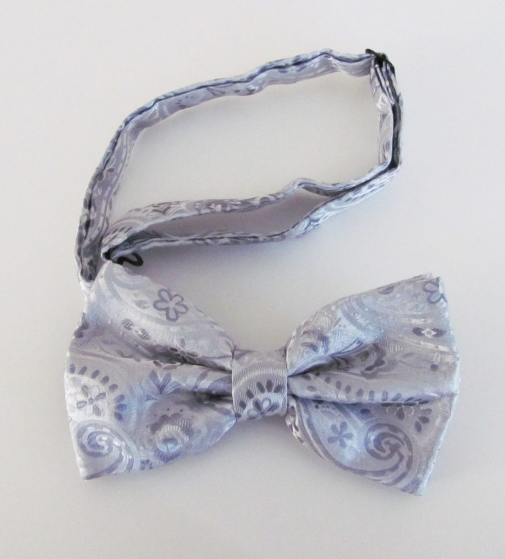 Mens Bow Tie Silver Light Gray Pattern Banded Pre Tied