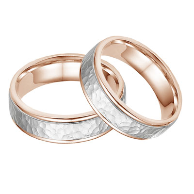 14K Rose and White Gold Hammered Wedding Band Set