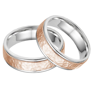 14K White and Rose Gold Hammered Wedding Band Set