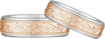 Engraved Paisley Wedding Band Set, 14K Rose and White Gold
