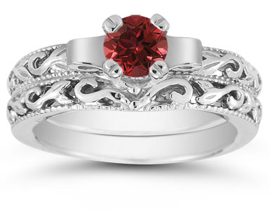 1/2 Carat Art Deco Ruby Bridal Ring Set, 14K White Gold