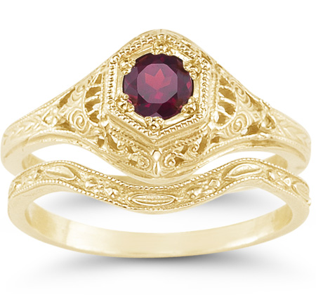 1800s Era Antique-Style Red Ruby Wedding Bridal Ring Set, 14K Yellow Gold