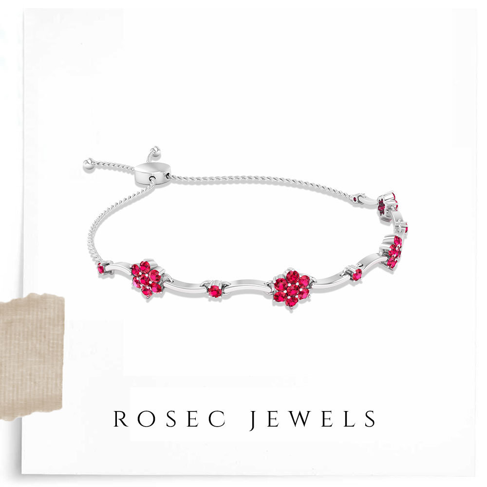 1.65Ct Ruby Floral Bracelet/ Unique Bolo July Birthstone Bridal Wedding Round Red Gemstone/ Bracelet