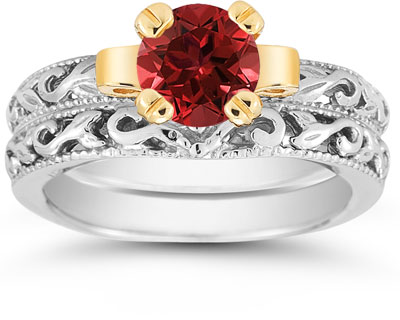 1 Carat Art Deco Ruby Bridal Ring Set