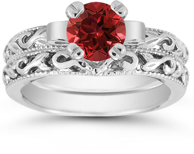 1 Carat Ruby Art Deco Bridal Ring Set, 14K White Gold