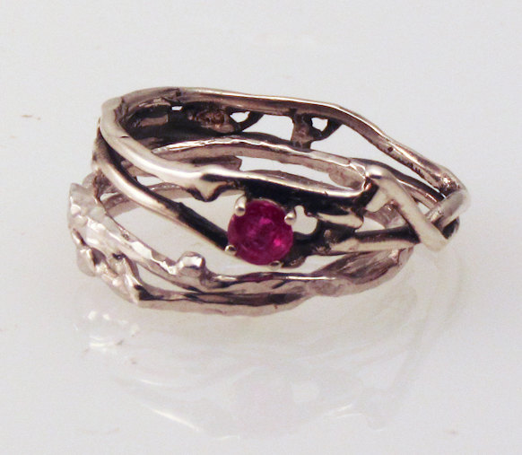 Simply Ruby Engagement Ring with Silver Wedding Band