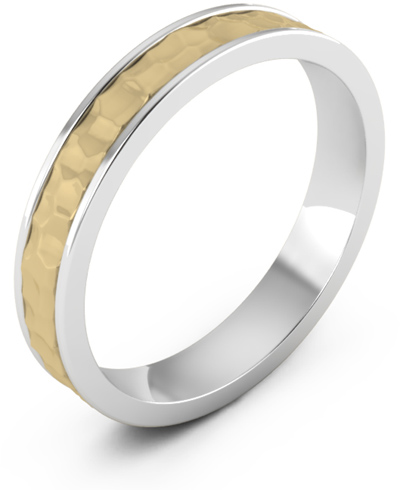 Handmade 4mm Hammered Wedding Band Ring in 14K Two-Tone Gold