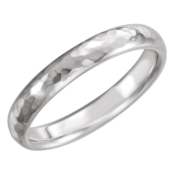 4mm 14K White Gold Hammered Comfort-Fit Wedding Band Ring