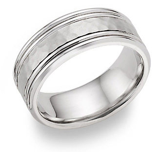 Hammered Wedding Band Ring - 14K White Gold