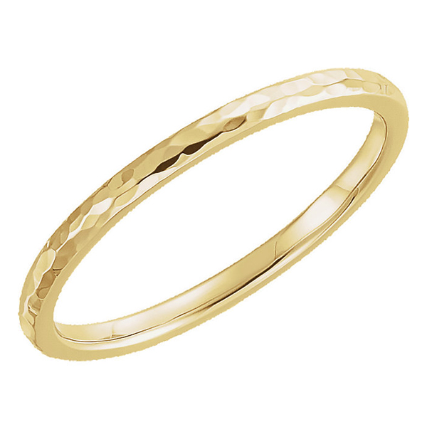2mm Hammered Wedding Band Ring in 14K Yellow Gold
