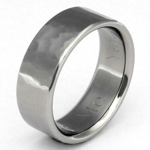 Flat Titanium Hammered Wedding Band Ring - Made in the USA