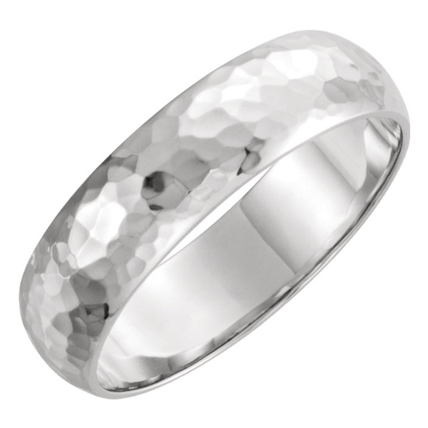 6mm 14K White Gold Domed Hammered Wedding Band Ring