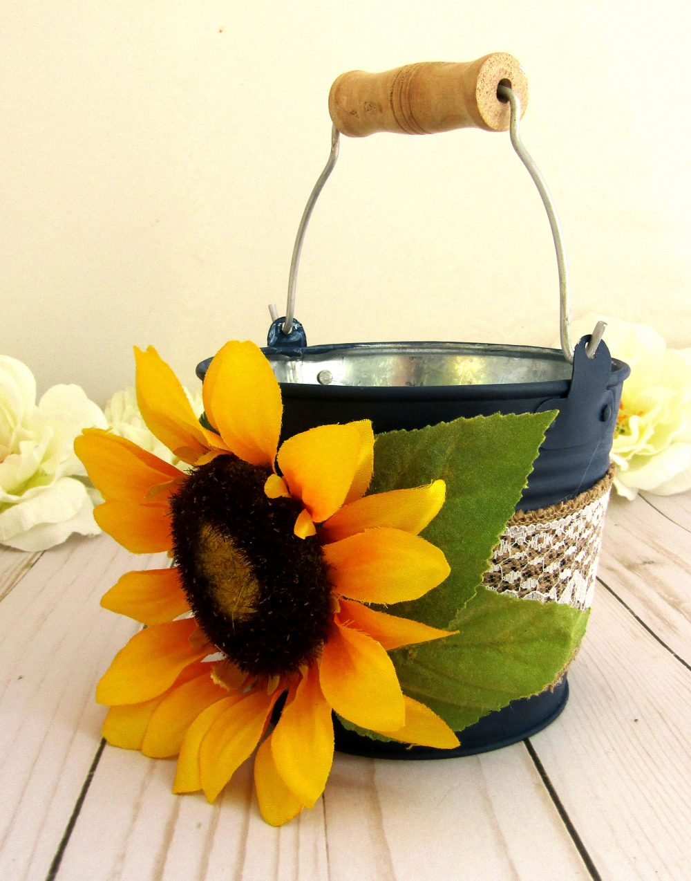 Rustic Sunflower Flower Girl Basket, Wedding, Navy Blue Burlap Lace Ribbon, Your Choice Of Colors, Wedding Gift