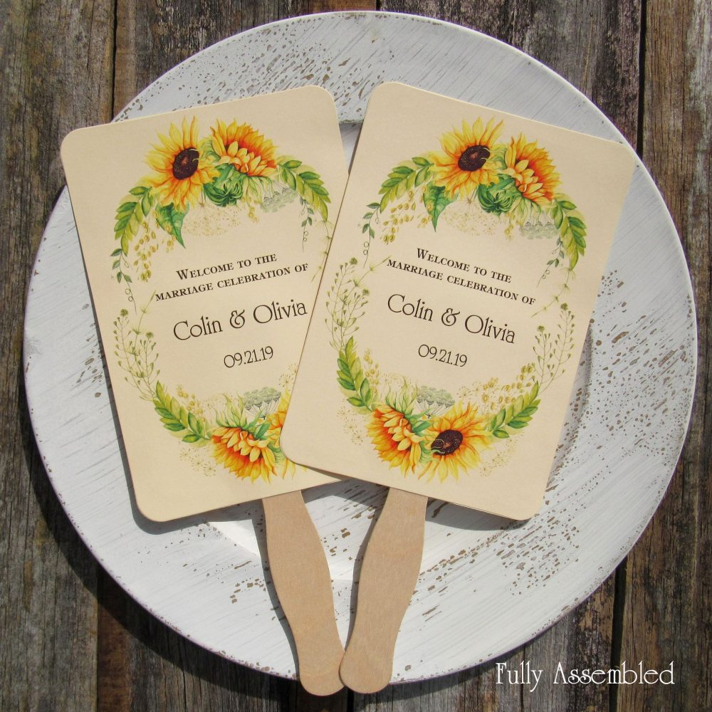 Personalized Fans For Weddings - Wedding Sunflower Fall -Sunflower