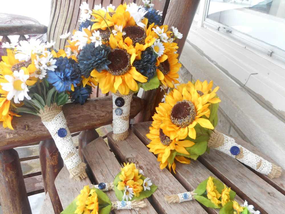 Rustic Or Barn Wedding/Sunflowers & Navy Mums Country Sunflower Blue