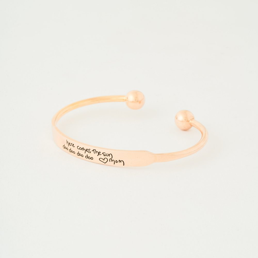 Actual Handwriting Bar Bangle - Cuff Signature Bracelet Engraved