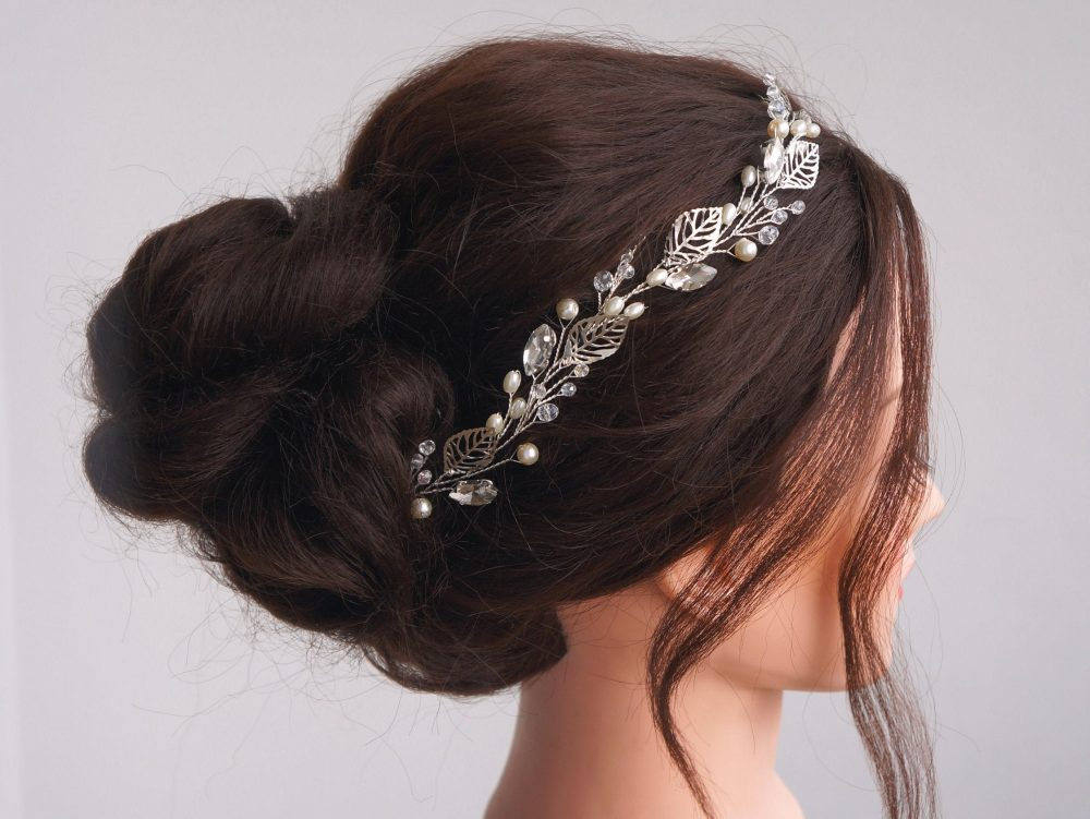 Bridal Hair Vine- Wedding Hair Vine- Silver Leaf Vine - Long Pearls -Bridal Accessories- Wedding Piece