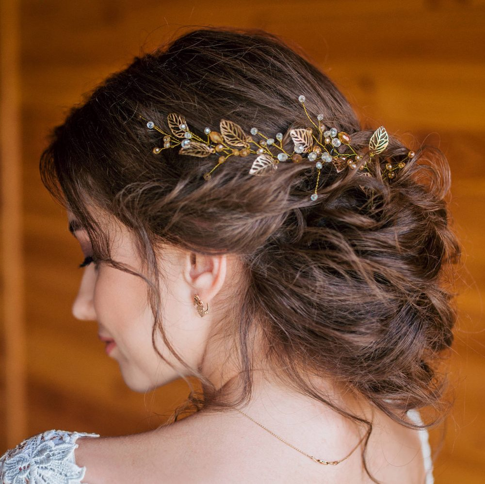 Bridal Hair Vine - Wedding Hair Vine - Gold Leaf Vine -Long Vine-Gold Pearl Vine-Bohemian Bridal Headpiece-Hair For Bride