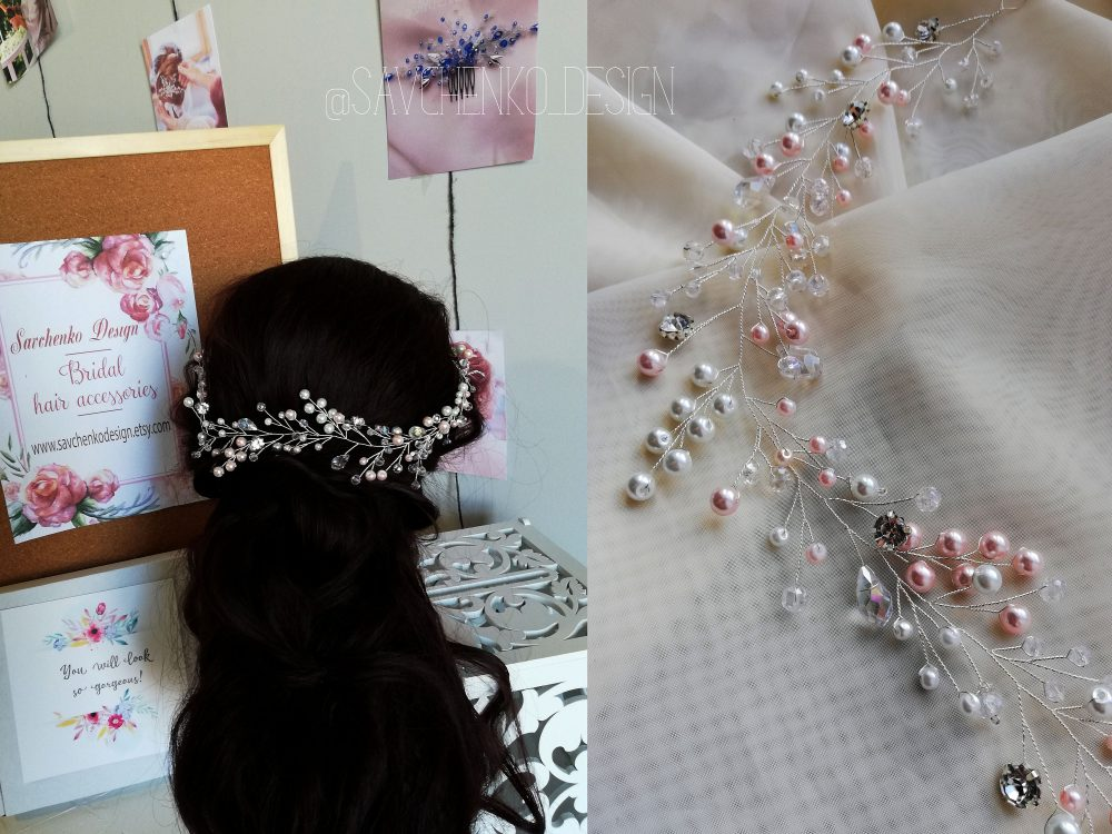Extra Long Wedding Hair Vine |Bohemian Wedding Tiara|Tocado Novia|Bridal Hair Accessories|Halo Swarovski Pearl Bridesmaid Gift Bride