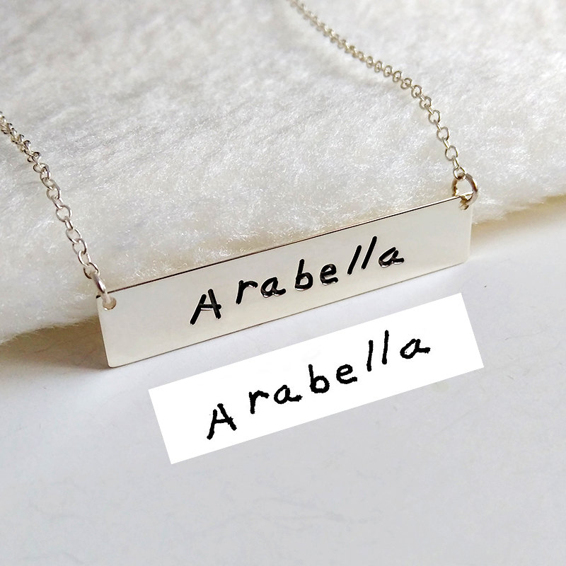 Handwritting Bar Necklace, Signature Necklace, Silver Horizontal Necklace, Engraved Necklace, Customized Necklace, Idea Gift