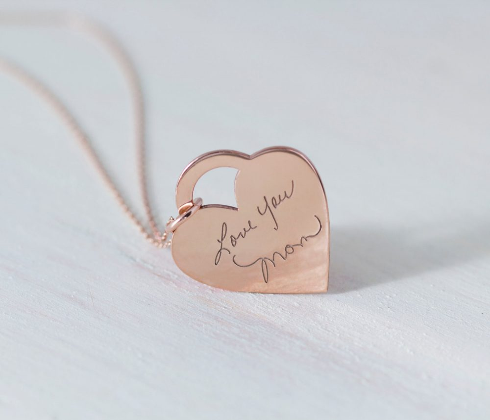 Engraved Signature Necklace With Heart Charm - Personalized Necklace Keepsake Handwriting Mother's Gift Christmas Gift