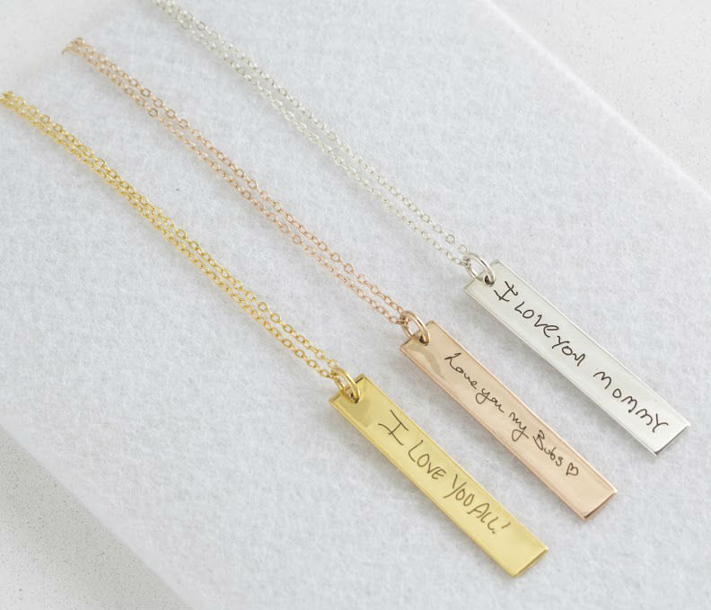 Actual Handwriting Vertical Bar Necklace- Signature Necklace Personalized Mother Gift - Christmas Gift