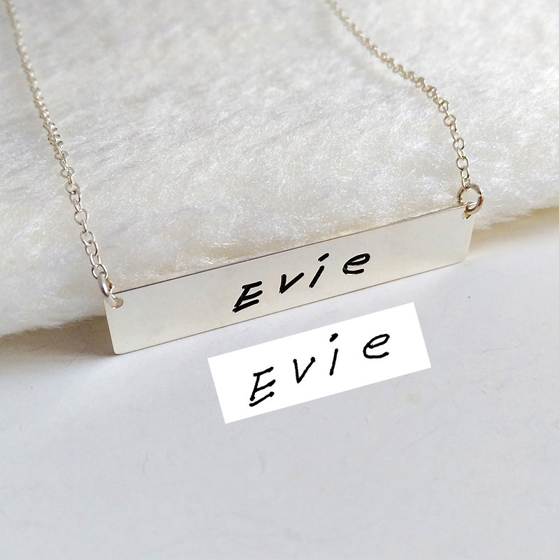sterling Silver Signature Necklace, Handwritting Bar Necklace, Horizontal Necklace, Engraved Necklace, Custom Handwritting Jewelry