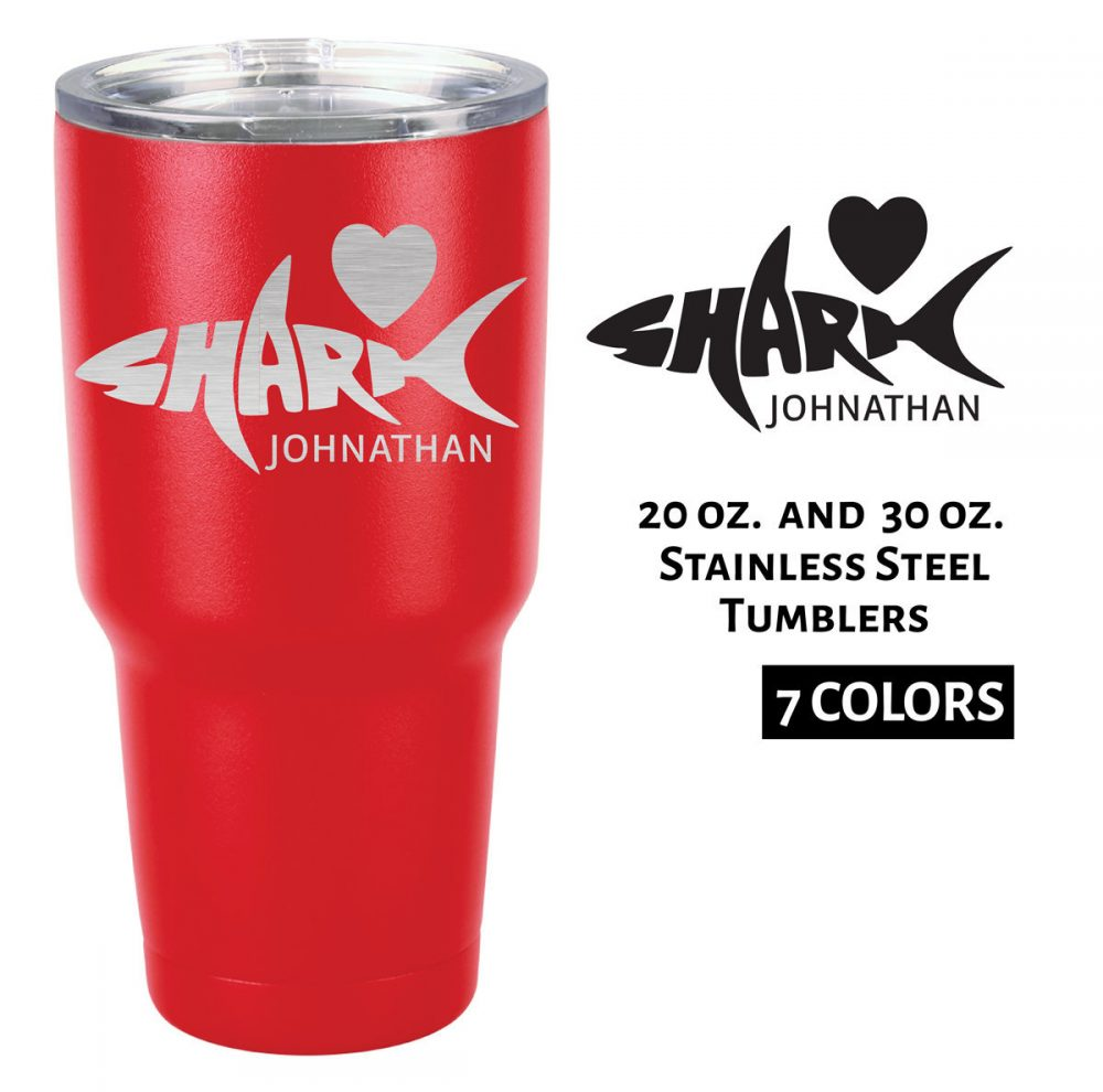 Custom Tumbler | Shark Word Art Customized With Name Stainless Steel Hot Cold Personalized Engraved