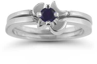Holy Spirit Dove Sapphire Engagement Ring Set