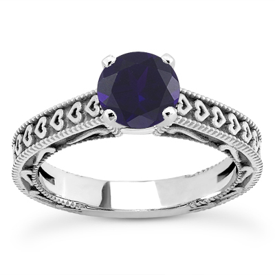 Engraved Hearts Sapphire Engagement Ring
