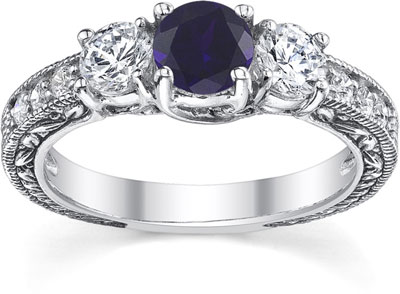 Antique-Style Diamond and Sapphire Floret Engagement Ring, 14K White Gold