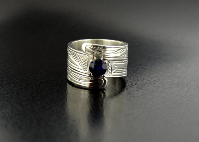 Custom Sapphire Engagement Wrap Ring With Raven & Wolf Design Northwest Coast First Nations Band