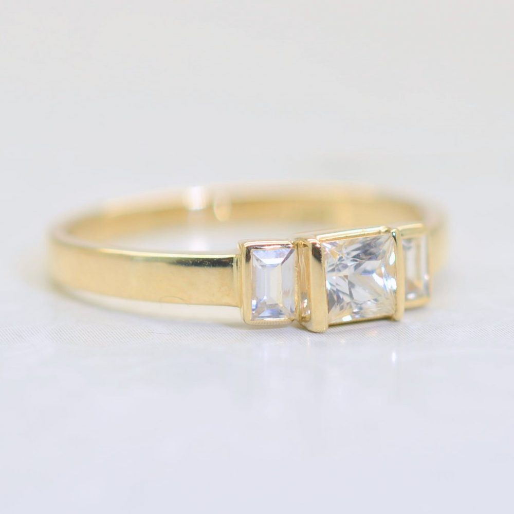 Yellow Gold & White Sapphires Engagement Ring, Dainty Delicate Sapphire Handmade, Promise Ring