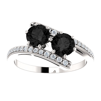 """Only Us"" Two Stone Black Diamond Engagement Ring in 14K White Gold"