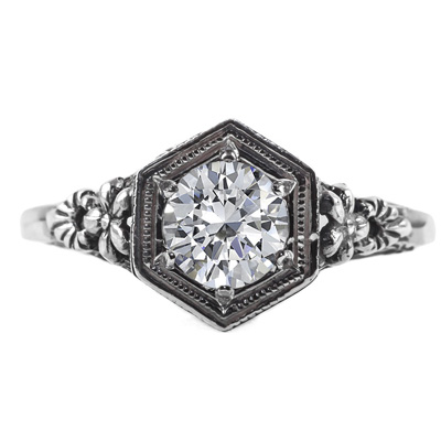 Vintage Floral Design Diamond Engagement Ring in 14k White Gold