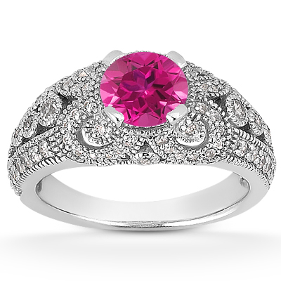 Vintage Style Pink Topaz and Diamond Engagement Ring