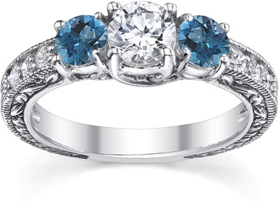 1 Carat White and Blue Round-Cut Vintage-Style Diamond Engagement Ring, 14K White Gold