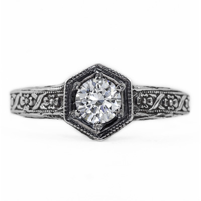 Floral Ribbon Design Vintage Style Diamond Engagement Ring in 14K White Gold