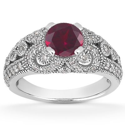 Vintage Style Ruby and Diamond Engagement Ring
