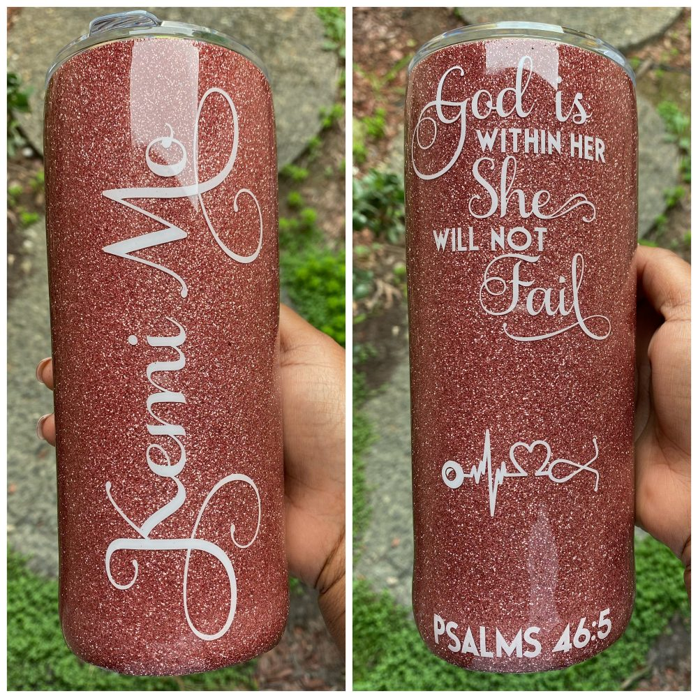 Custom Tumbler, Personalized Glitter Stainless Steel Name Tumbler