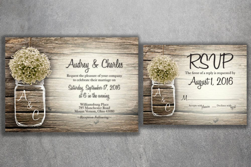 Country Wedding Invitation, Rustic Invitations, Baby's Breath, Mason Jar Invitations Cards, Barn Wood, Card Cheap