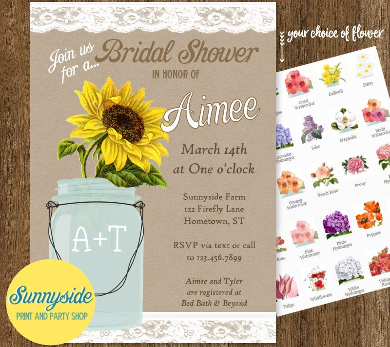 Digital Country Sunflower Mason Jar Invitation For Rustic Barn Wedding Shower, Printable, Personalized