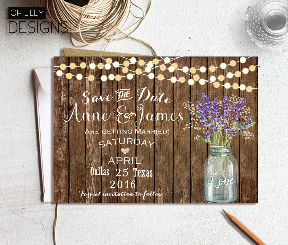 Save The Date Rustic, Printable, Mason Jar Invitation. Wedding Date, Country Lavender Invitation
