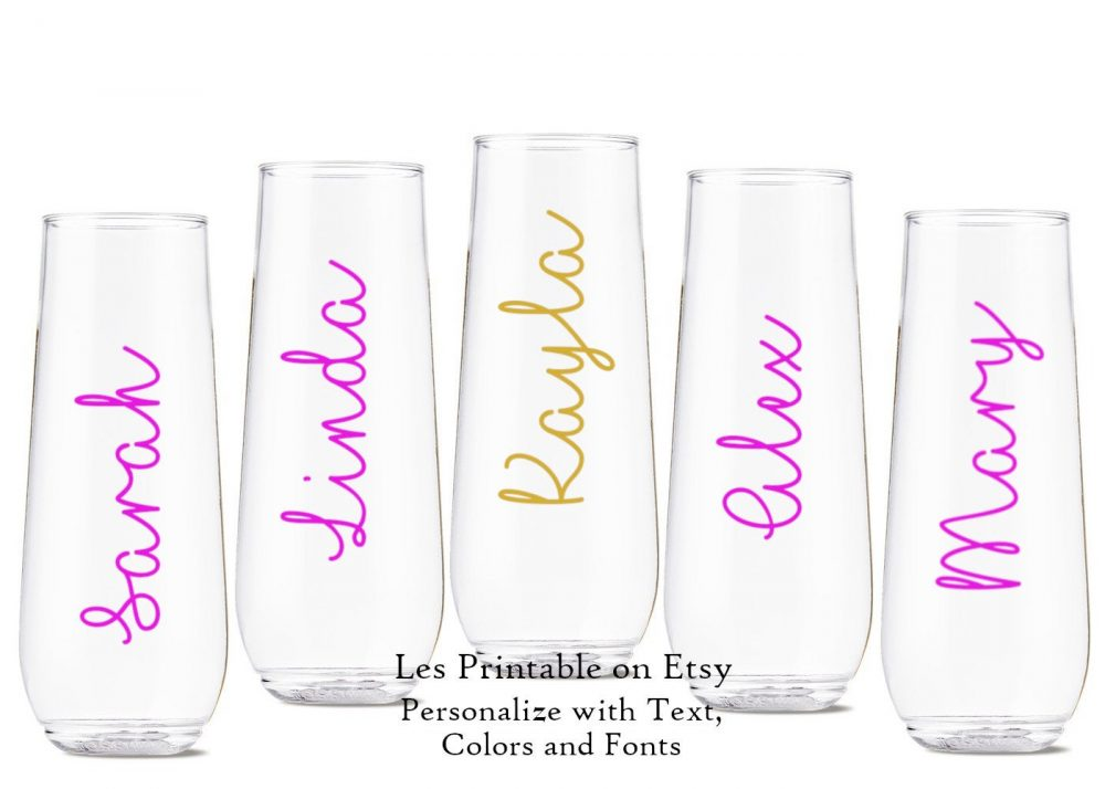 Name Vinyl Decal Custom For Wine Glass, Personalized Wedding Party Champagne Flutes, Cups, Mugs Bridal Party Gift Bachelorette Glitter