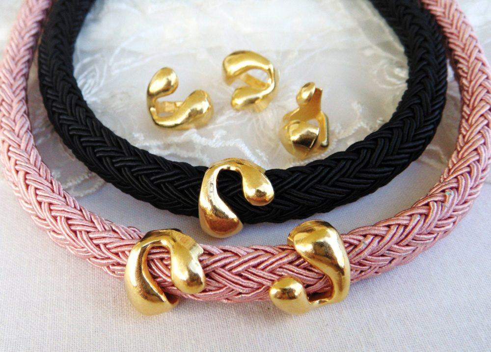 Gold Snake Ring Spacer Finding, Tube Slider For Use With 10x6mm Licorice Leather Cord, 14x15, 5mm/ H 7x10mm-2 Pieces