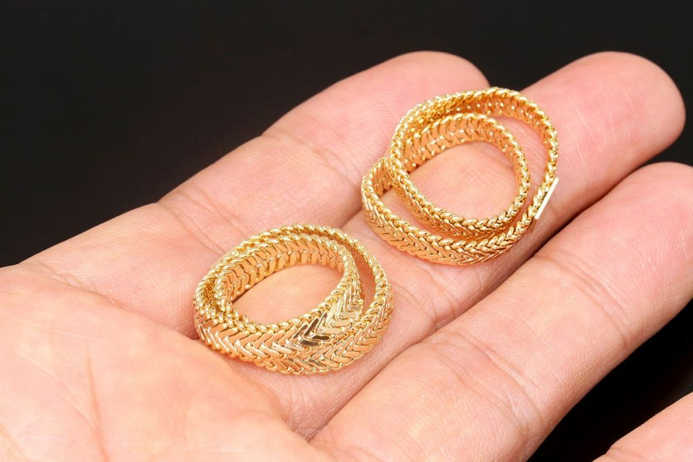 R0106-10Pcs-Gold Plated-Herringbone Chain Ring-Unique Ring-5mm Snake Ring